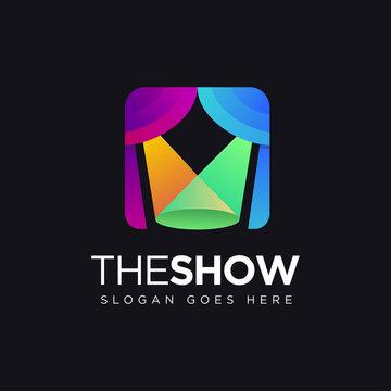 modern minimalist colorful logo of lighting stage show