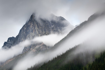 Mount MacDonald in the mist. Glacier National Park, British Columbia. Wall mural