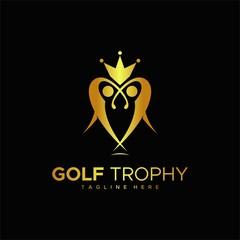 golf trophy logo design unique