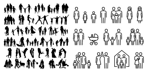 Happy Family Icon Sign Symbol On White Background