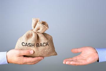 Mans hand holding, giving bag with cash bag. Cash back or money refund concept.