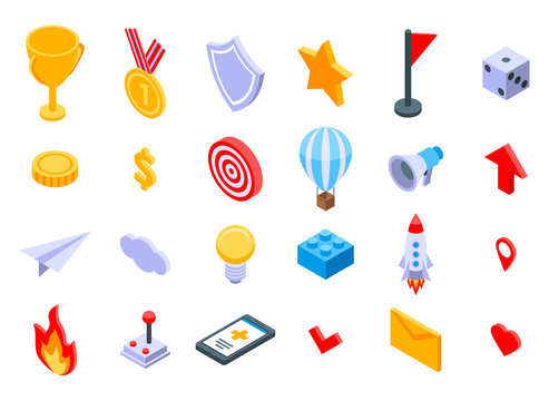 Gamification icons set. Isometric set of gamification vector icons for web design isolated on white background