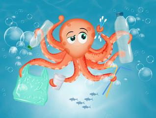 Poster Submarine illustration of plastic waste pollution