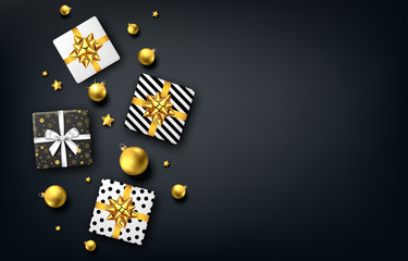 Fotomurales - Christmas  background with gift box, golden  bow, gold Xmas ball.