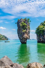 Fotobehang Blauw Vertical image amazing nature scenic landscape James bond island, Phang Nga bay, Attraction famous landmark tourist travel Phuket Thailand summer holiday vacation, Tourism beautiful destination Asia