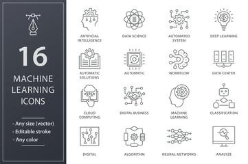 Machine learning line icons set. Black vector illustration. Editable stroke.
