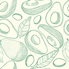 Vector hand drawn avocado seamless pattern. Whole avocado, seed, half, leaf in sketch. Helthy food repeated background in engraved style.