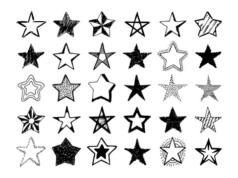 Doodle hand drawn stars