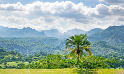Overlook with View of Tropical Forests and Jagged Mountains outside of Clark, Philippines - Pampanga, Luzon, Philippines