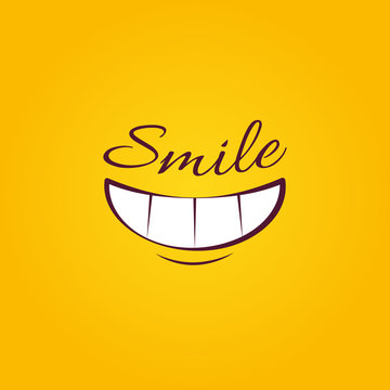 Smile icon template design. Smiling emoticon vector isolated logo illustration on yellow background. Face line art style. Smiling Cartoon Funny Face With Smiley Expression.