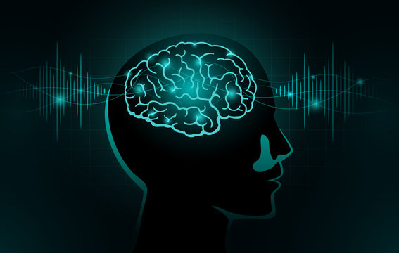 Particles move into human brain. Concept Illustration about Brain wave and Frequency.