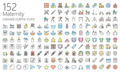 Maternity colored outline iconset