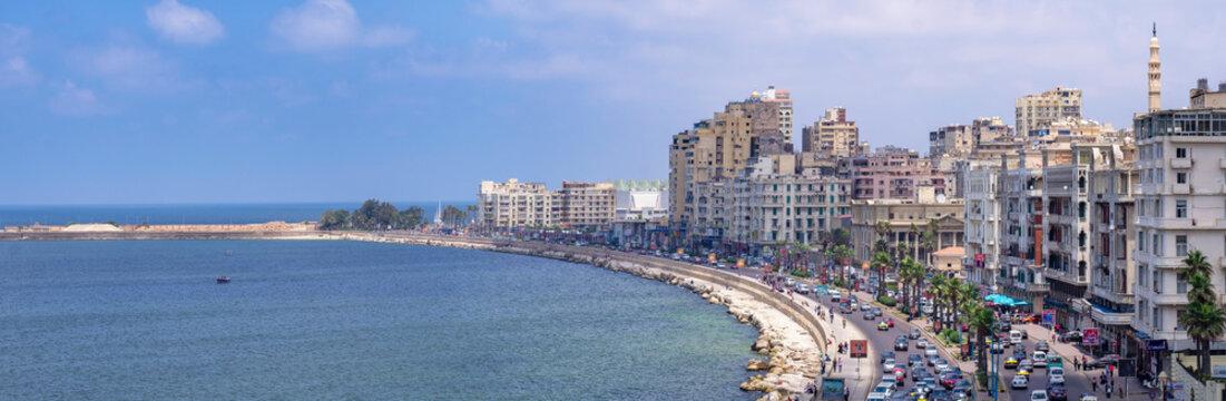 The Corniche is a waterfront promenade in Alexandria and the major corridor for traffic, Egypt