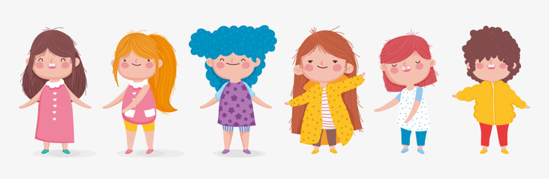 set of cute kids boy and girl standing on white background
