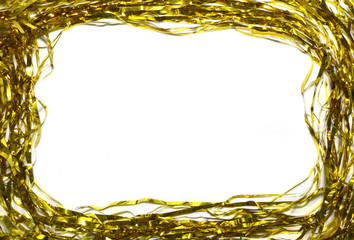 Gold holiday frame background. Space for text on white background.