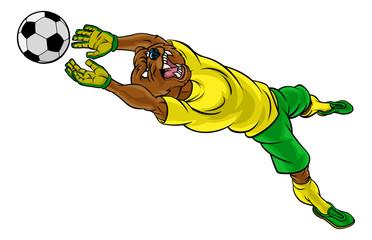 A bear soccer football player goal keeper cartoon animal sports mascot diving to catch the ball
