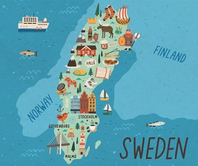 Cultural map of Sweden flat vector illustration. European country traditional landmarks and tourist attractions. EU state cartoon drawing. Travel guide with famous sights and animals.