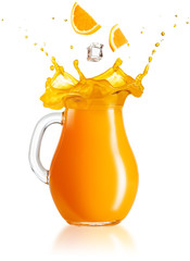 Wall Mural - slices of orange and ice cube falling into a splashing jug on white background