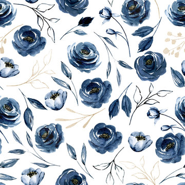 Seamless pattern with watercolor flowers navy blue roses, repeat floral texture, background hand drawing. Perfectly for wrapping paper, wallpaper, fabric, texture and other printing.