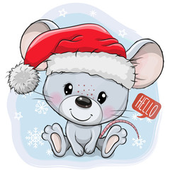 Cartoon mouse in Santa hat on a blue background