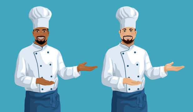 Vector set of two chefs showing by hand. African American and Caucasian ethnicity middle aged smiling handsome cook men. Cartoon style illustration.