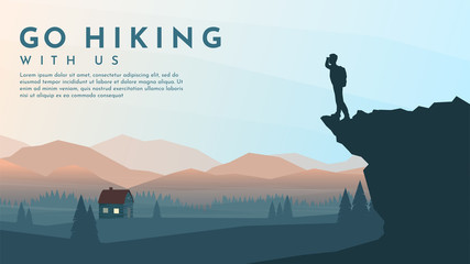 Traveler with backpack standing looking on valley with alone house. The guy watches nature. Travel concept of discovering, exploring and observing nature. Hiking. Adventure tourism. Website template