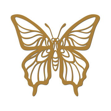 Vector elegant butterfly silhouette. Laser or plotter tracery cut template