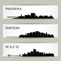 Foto auf Acrylglas Rosa dunkel United States of America cities skylines - Pasadena, California, Dayton, Ohio, Waco, Texas - isolated vector illustration