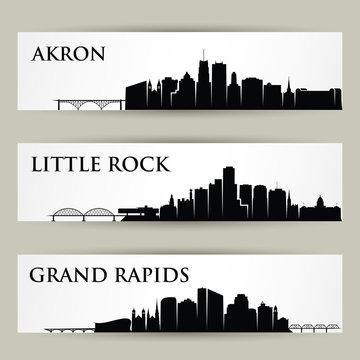 United States of America cities skylines - Akron, Little Rock, Grand Rapids, USA, Ohio, Arkansas, Michigan - isolated vector illustration