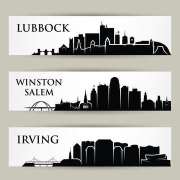 United States of America cities skylines - USA - Lubbock, Texas, Winston Salem, North Carolina, Irving - isolated vector illustration