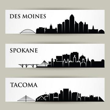 United States of America cities skylines - USA - Des Moines, Spokane, Tacoma, Iowa, Washington - isolated vector illustration