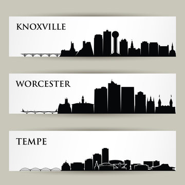 United States of America cities skylines - USA, Knoxville, Tennessee, Worcester, Massachusetts, Tempe, Arizona - isolated vector illustration