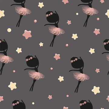Little cute black silhouette ballerina princess of the ballet and stars. Decorative seamless pattern on grey background.