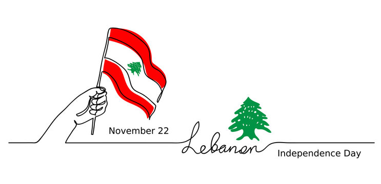 Beirut simple web banner, background. Lebanon, Lebanese Independence Day vector background. One line drawing concept with hand, flag, cedar tree.