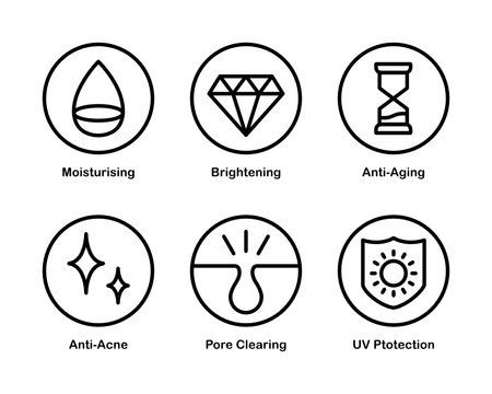 Set of 6 Vector Icons with Cosmetic Properties and Effects.
