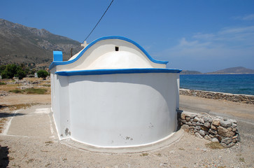 A small chapel on the seafront at Agios Antonios on the Greek island of Tilos
