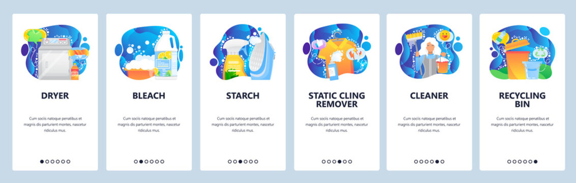 Mobile app onboarding screens. House cleaning service, dryer, bleach, housemaid, recycling waste bin. Menu vector banner template for website and mobile development. Web site design flat illustration