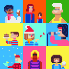 Wall Murals Pixel People characters pixel art set. selfie, mom, man, boy's cake, singer, boy and girl Isolated vector illustration. Game assets 8-bit sprite. Design for stickers, web, mobile app.