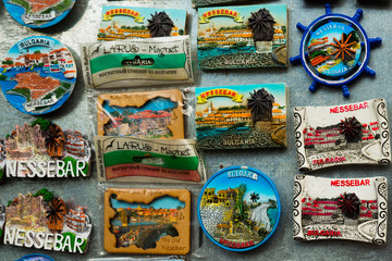 Spoed Foto op Canvas Grill / Barbecue Beautiful Colorful magnet souvenirs from Bulgaria, Europe