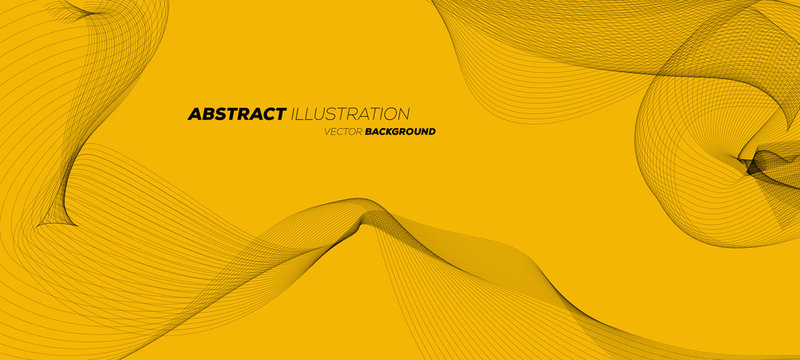 Abstract geometric background with dynamic linear wave lines. Yellow vector design illustration.
