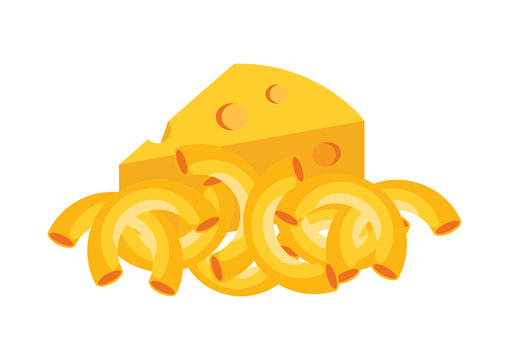 Mac and Cheese vector. Macaroni and Cheese icon vector. Pasta with cheese icon. Mac and Cheese isolated on a white background