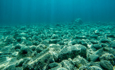 Rock underwater on the seabed in the Mediterranean sea, natural scene. Underwater photography.