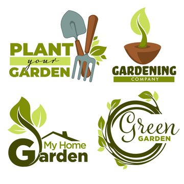 Plant garden gardening tools and leaves or sprouts isolated icons