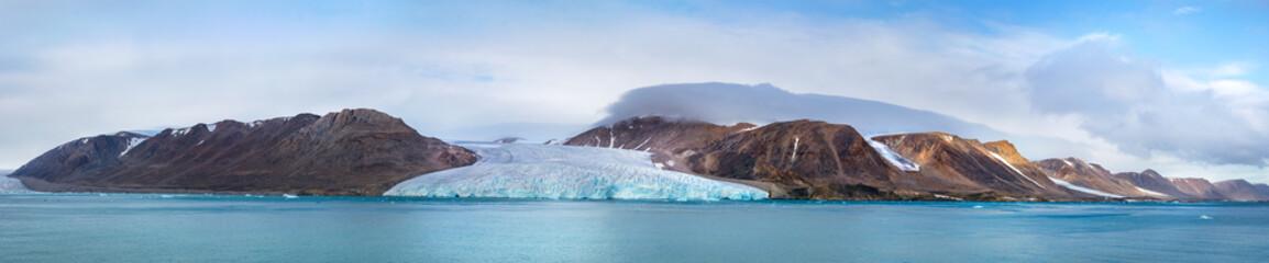 Panorama of the glacier in Fitzroy Fjord, Devon Island, Nunavut, Northern Canada.