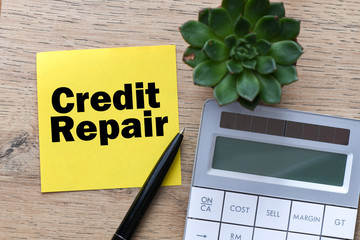 Credit Repair business text on the yellow card