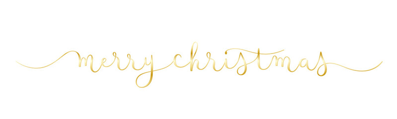Wall Mural - MERRY CHRISTMAS metallic gold vector brush calligraphy banner with swashes
