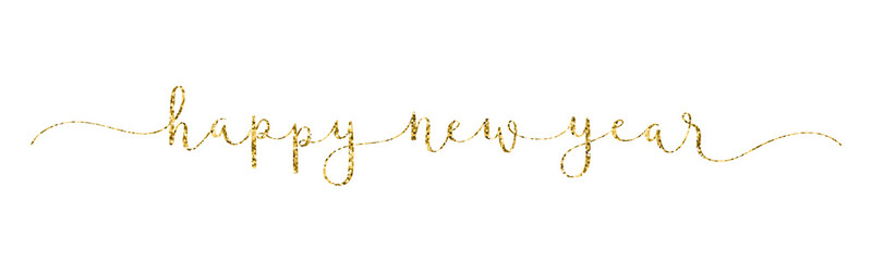 Wall Mural - HAPPY NEW YEAR gold glitter vector brush calligraphy banner with swashes