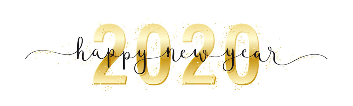 HAPPY NEW YEAR 2020 black and metallic gold vector brush calligraphy banner with swashes and confetti