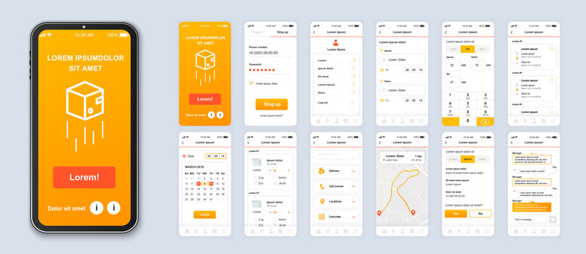 Delivery mobile app smartphone interface vector templates set. Online parcel shipping web page design layout. Pack of UI, UX, GUI screens for application. Phone display. Web design kit