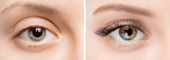 Obraz Eyelash extensionl procedure before and after. Beautiful woman with long lash in beauty salon - fototapety do salonu
